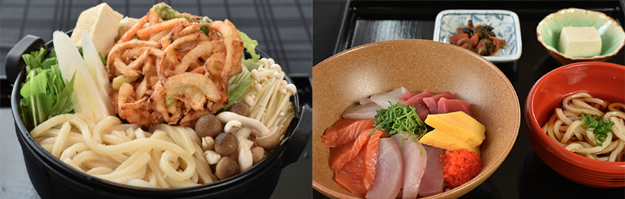 Hot pot noodle 2700 YEN, Sashimi set 2800 YEN